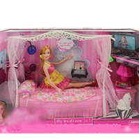 Wholesale Wholesale Fashion Furniture Sets - 2017 Furniture set with pretty dolls 3+ ages the best birthday gift for girls Fashion of top