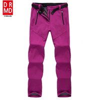 Wholesale Shell Trousers - Wholesale- outdoor Winter ski pants women solft shell pants plus size waterproof snow pants thicken fleece hiking pant snowboard trousers