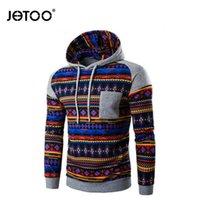 Wholesale Ethnic Sweatshirt - Wholesale-Men Sweatshirt Patchwork Hot New Stripe Prints Ethnic Style Men's Hoodie Sweatshirts Casual Stitching Raglan Sleeve Hoodies Slim
