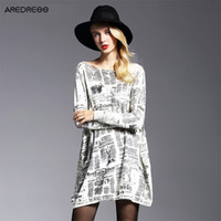 Wholesale newspaper sleeves - Wholesale-Autumn 2016 New Women Knitted Long Newspaper Print Loose Large Plus Size Oversized Sweaters And Pullovers Jumper Pull Femme
