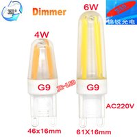 Wholesale G9 Led Dimmable 4w - Wholesale- 3PCS 2016 NEW New Ceramic G9 LED Lamp Dimmable 230V 220V Light Bulb 4W 6W 4 COB Filament COB Chandelier