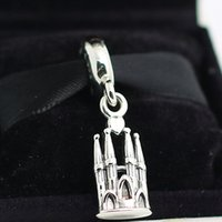 Wholesale Glasses La - 100% 925 Sterling Silver Thread Core La Sagrada Familia Dangle Charm Bead Fits European Pandora Jewelry Bracelets Necklaces & Pendant