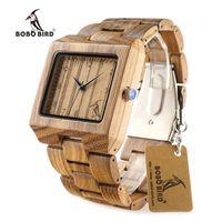 Wholesale Wood Man Japan - BOBO BIRD Zebra Wooden Watches for Men Cool Square Wood Case Band Japan 2035 Movement Quartz Watch accept OEM Customization as Gift