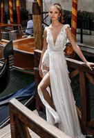 Wholesale Dress Embellished Side - side split flowy skirt romantic sexy a line wedding dresses 2018 julie vino bridal deep v neck heavily embellished bodice open back