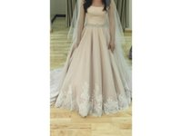Wholesale Tulle Pearls Trim - Modest Neckline Crystal Pearl Waistband Lace Trim Ruched Custom Made Tulle Vestido De Noiva Bridal Gown COR-100 Wedding Dresses