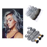 Wholesale Two Color Frontal Closure - Peruvian Body Wave Grey Hair Weave 3 Bundles With Lace Frontal Closure Silver Grey Ombre Hair Extensions With Frontals Two Tone 1B Grey