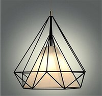 Wholesale cage black metal pendant light - Modern black birdcage pendant lights iron minimalist retro light Scandinavian loft pyramid lamp metal cage with led bulbs