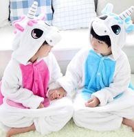 Wholesale nightgown sets - Kids Flannel Unicorn Warm Pajamas Children's Unicorn One-piece Home Cosplay Sets Convenient on toilet design Sleepwear KKA2878