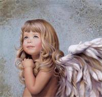 ángeles pintura diamante cuadrado al por mayor-Nueva DIY 5D mosaico pintura diamante kits de punto de cruz ángel de la historieta resina llena cuadrado diamantes bordado costura decoración zf0014