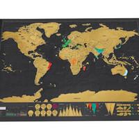 Wholesale World Travel Stickers - 1 PCS Scratch OFF MAP Travel Scratch Map 88x52 cm 82.5x59.4cm World Map Novelty Gift