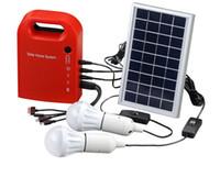 cabo de painel usb venda por atacado-Atacado-portátil de energia solar Home System Energy Kit incluem 4 em 1 cabo USB Painel Solar 2 lâmpadas para iluminação e carregamento em todos os lugares