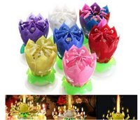 Wholesale Birthday Lotus Blossom - 7 colors Beautiful Blossom Lotus Flower Candle Birthday Party Cake Music Sparkle Cake