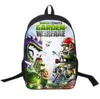 mochilas plantas vs zombies al por mayor-Plantas de dibujos animados de calidad 3d vs zombies mochila de viaje mochila 2016 nuevos bolsos de deportes al aire libre bolsa de escuela