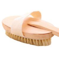 Wholesale Wood Shower Brush - Wholesale- Body Natural Dry Skin Exfoliation Brush Massager Bath Shower Scrubber Long wood handle unload style scraper drop shipping sale