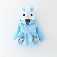 Wholesale Korean Kids Jacket Wholesale - 2017 Autumn Cartoon Girls Coat Korean Fashion Rabbit Long Sleeve Children Jacket Cute Bunny Ear Fall Kids Overcoat Girl Clothes