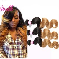 Wholesale Virgin Hair Brazilian Vendor - HighQuality Raw Indian Remy Human Hair 300G Human Hair Weave Ombre Blonde Virgin Indian Hair Vendors Wet And Wavy Two Tone Color