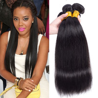 Wholesale 22 Inch Ponytails - Mink Brazilian Peruvian Virgin Hair Weave Bundles Remy Human Straight Hair Weaves Weft Cheap Malaysian Indian Cambodian Human Hair Ponytail