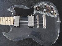 Wholesale Crystal Electric Guitar - Wholesale- crystal Body with LED Light, 22F SG Acrylic guitar, Wholesale - Free shipping Wholesale new acrylic body electric guitar with
