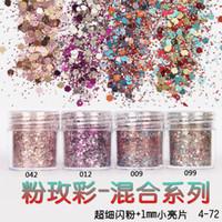 ingrosso decorazione acrilica 3d per le unghie-Scatola Wholesale-1 Rosa rosa Colorful Nail Glitter Polvere Fine Mix 3D Paillettes per unghie Polvere glitter acrilica Grandi punte per nail art Decorazione 10ML