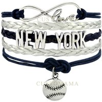 Atacado- (10 PCS / Lot) Infinity Love New York Baseball Charm Multilayer Bracelet Gift para fãs de beisebol Navy Blue Silver Grey Leather