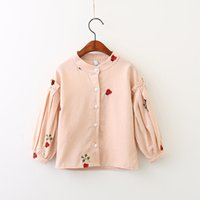 Wholesale Baby Long Blouse - Everweekend Girls Ladybug Leaves Embroidered Ruffles Blouses Lovely Kids Lantern Sleeve Shirts Sweet Baby Autumn Clothes