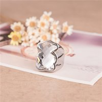 Wholesale White Silver Fashion Stainless Steel Little Bear Women s Ring With Black Crystal Rhinestone Size