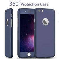 proteger maçã caseira venda por atacado-Para iphone 7 360 caso proteção da tela 360 graus proteger caso de vidro temperado colorido moda case para iphone 7 plus com pacote de varejo