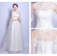 Wholesale Wedding Dresses Round Back - Small Round Neck A Word Skirt Wedding Dress Beautiful Elegant Lace Wedding Dresses Shoulder Appliques Sleeveless Court Train Bridal Gowns