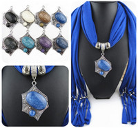Wholesale Scarf Collar Pendant - New Brand Alloy Irregular Base Multi color Resin Pendants Scarf Jewelry With Tassels Women Bib Collar Scarf Necklaces LD