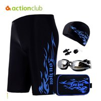Wholesale Wholesale Boys Boxer Shorts - Wholesale- Actionclub Swimming Trunks Swimming Hat With Goggles Pluz Size Five Pieces Sport Sexy Mens Underwear Boxer Shorts Boys SA249