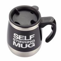 Wholesale self stirring coffee mug - Self Stirring Coffee Cup Mugs Double Insulated Coffee Mug 450 ML Automatic Electric Coffee Cups Smart Mugs Mixing CoffeeCup