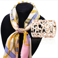 Wholesale Gold Han - Han Edition of the New Fashion Simple Hollow Out Set Auger Love Flight Attendant Chain Scarves Buckle