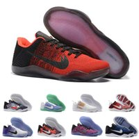 Wholesale Cheap Training Tables - 2017 kobe 11 Elite Men's Basketball Shoes Top quality Black White yellow XI KB Weaving Sports shoes Athletic Training Sneakers cheap US 7-12