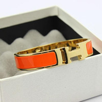 Wholesale Couple Wristband Bracelets - Hot sell 12mm H bracelet titanium steel Enamel jewelry Fashion lady love bangle wristband H bracelet gold color woman couple gift with box