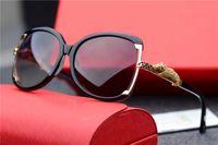 Wholesale Leopard Fashion Frames - new brand sunglasses 0703 france designer bling style butterfly frame fashion sunglasses women design leopard logo UV400 lens hollow design
