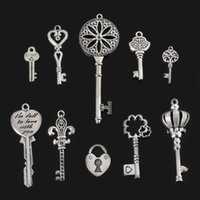 Wholesale Handmade Metal Crafts - Wholesale-46pcs new diy fashion craft accessories jewelry findings metal vintage silver mixed key charms pendant for handmade