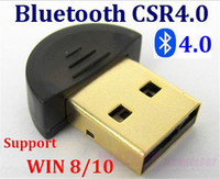 100set / lot * Top qualità Mini USB Bluetooth Adapter V 4.0 Dual Mode Wireless Dongle CSR 4.0 Per Win10 Win8 / 7 XP 25
