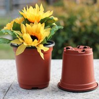 Wholesale flower pot nursery - 100 PCS Double Color Plastic Garden nursery Flower Pot Mini Flowerpot Home Garden Planters Grow Pot Unbreakable Plastic Nursery Pots