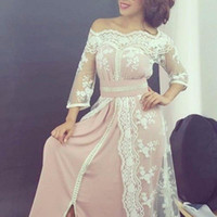 Wholesale Three Quarter Sleeve Prom Dress - Elegant Boat Neck Lace Muslim Long Evening Dresses Dubai Moroccan Kaftan Dress Three Quarter Sleeve Prom Dress Real Sample Party Gowns