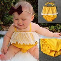 Wholesale Cute Baby Girl Yellow Outfits - Baby Girls Lace Up Yellow Romper Lace trimmings Romper crotch snapper open Infants cute summer outfits 4sizes for 1-2T