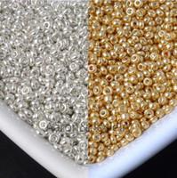 semillas checas al por mayor-2 mm 3000 piezas de oro y plata cuentas de vidrio checo granos espaciadores para hacer la joyería envío gratis