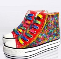 Fashion Women's Lace Up Rainbow Couleurs Sequins Bling Platform Sneakers High Top Chaussures de toile XWX11613