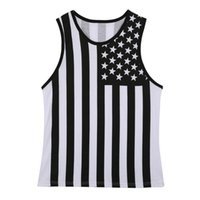 Material De Impresión Al Por Mayor Baratos-Venta al por mayor- American Flag Body Tank Top Hombre Polyester Material Chalecos Tops Muscle Swag Striped Star Print Sin mangas