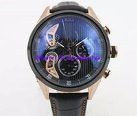 Wholesale Double Tourbillon - Luxury Brand Black Dial Limited Mikro Tourbillon Mens Double Zone Car5A51 New Stopwatch Mens stainless steet Watches Wristwatch