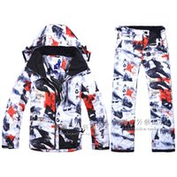 Wholesale Suit Thermal Male - Wholesale- Free Shipping New 2016 Male Ski Suits Jacket+Pants Men's Water-proof Breathable Thermal Cotton-Padded Snowboard Ski Suits