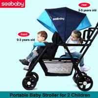 Wholesale Stroller For Twins Babies - Fashion Folding Baby Stroller for 2 Kids, Light Twins Stroller, Portable Baby Carriage Pram for 2 Children, 2-seats Pushchair