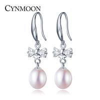 Wholesale Earring Hook Screw - Freshipping 8-9mm Freshwater Pearl Hook Dangle Earrings ,Butterfly Pearl Jewelry Silver Pearl Earrings valentine gift For Women