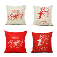 Wholesale happy hotels - Christmas Reindeer Cushion Cover Happy New Year Pillow Cover Christmas Reindeers Pillow Case Home Decor Pillowcases