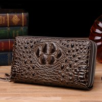 Wholesale Credit Card Embossing - 2017 New 3D Embossing Alligator Fashion Crocodile Long Clutch Wallets men Double zipper Leather Men's Purse Business Carteras