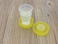 Wholesale Retractable Portable Cup - 100pcs lot fast shipping Portable Travel Cup Retractable Folding Mini Cup Telescopic Collapsible Outdoor cups random color